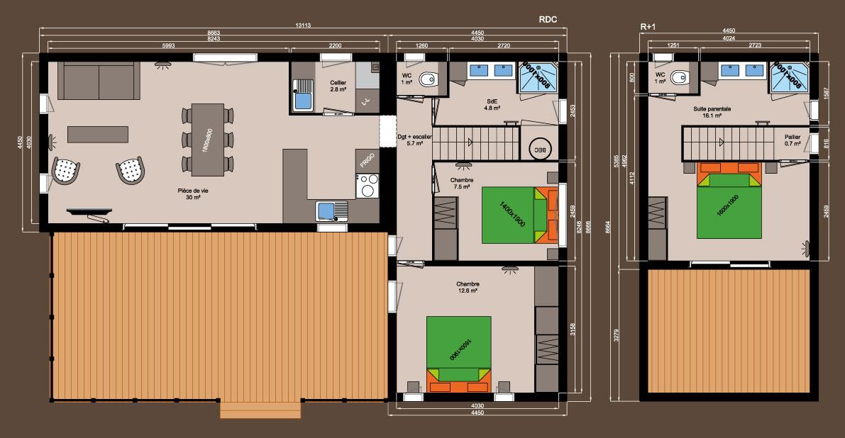 Plan chalet bois - Kubio 100m² - 3 chambres