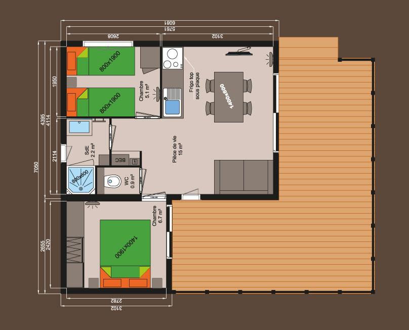 Plan chalet bois 35m 2 chambres logis de montaigu Plan chalet bois