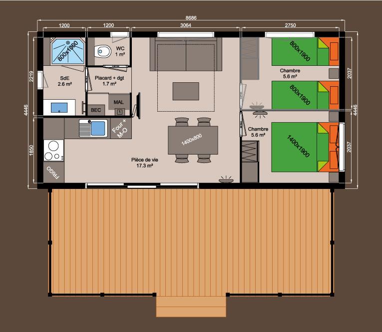 plan chalet bois 39m² - 2 chambres
