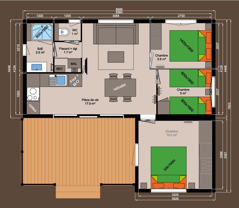 plan chalet bois Kubio 50 m² - 3 chambres