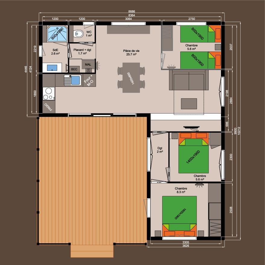 Plan chalet bois 60 m² - 2 chambres