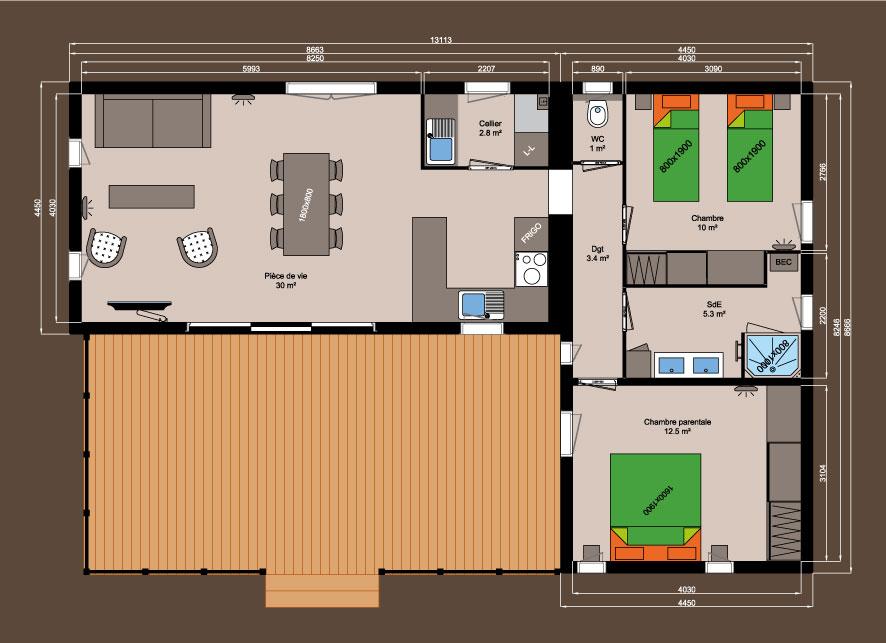 Plan chalet bois - Kubio 76 m² - 2 chambres
