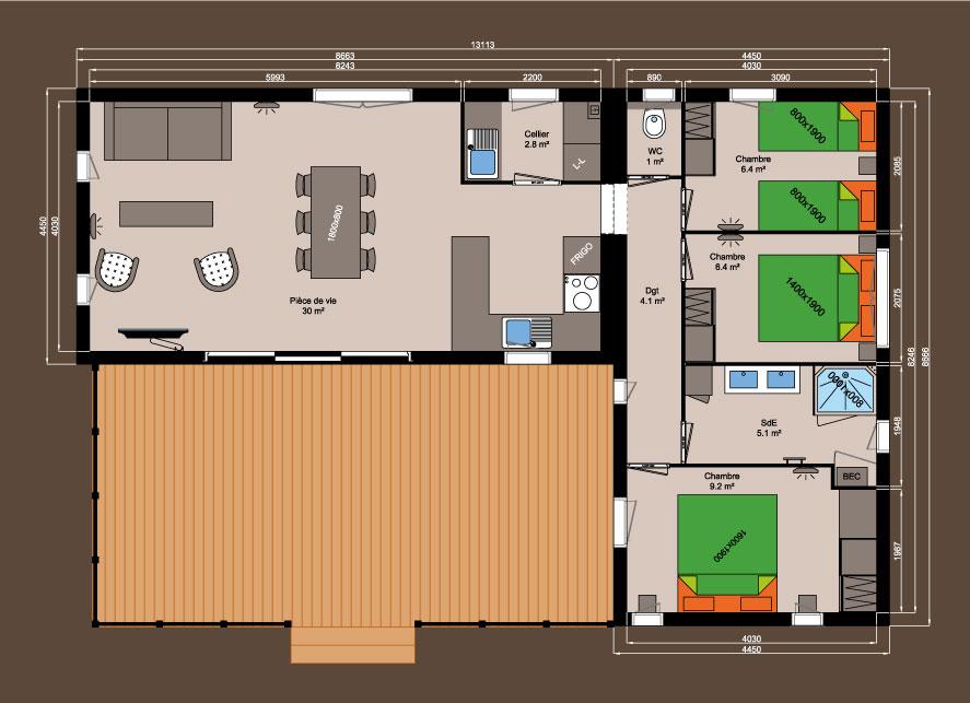 Plan chalet bois - Kubio 76 m² - 3 chambres
