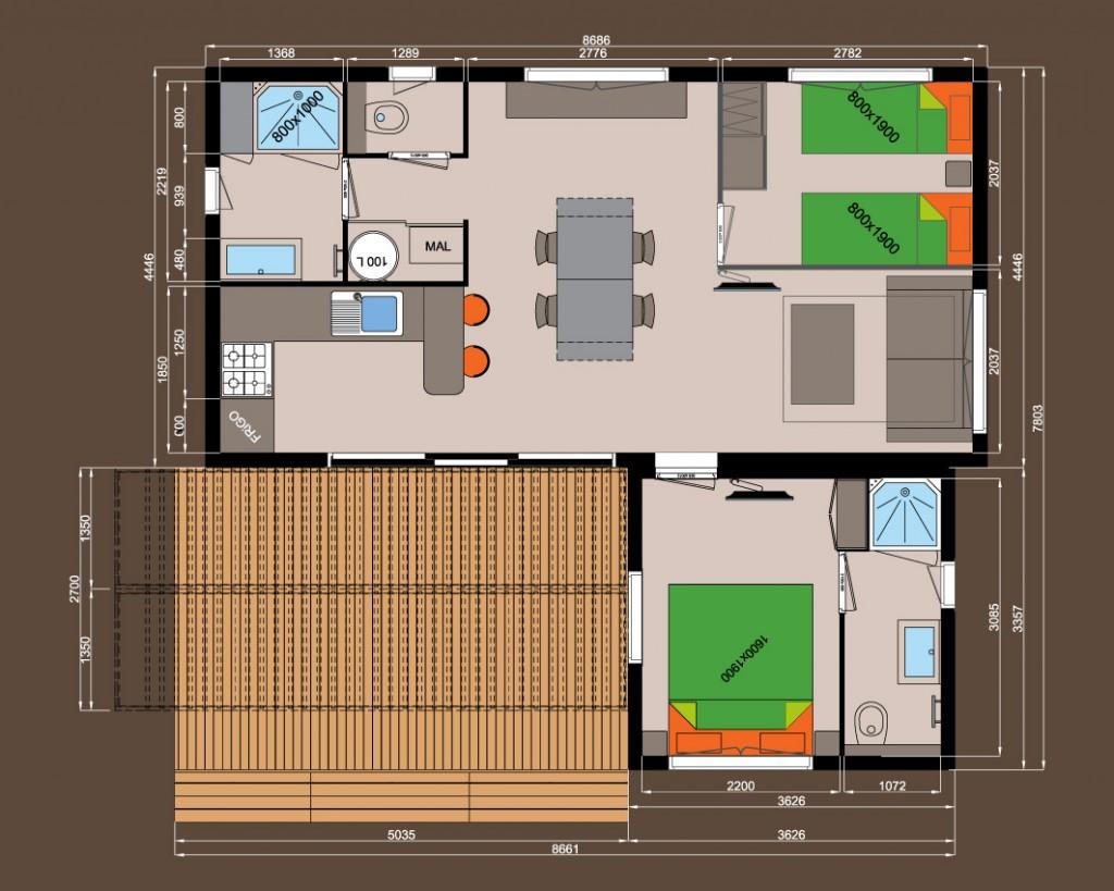 2 chambres + 2 salles de bains