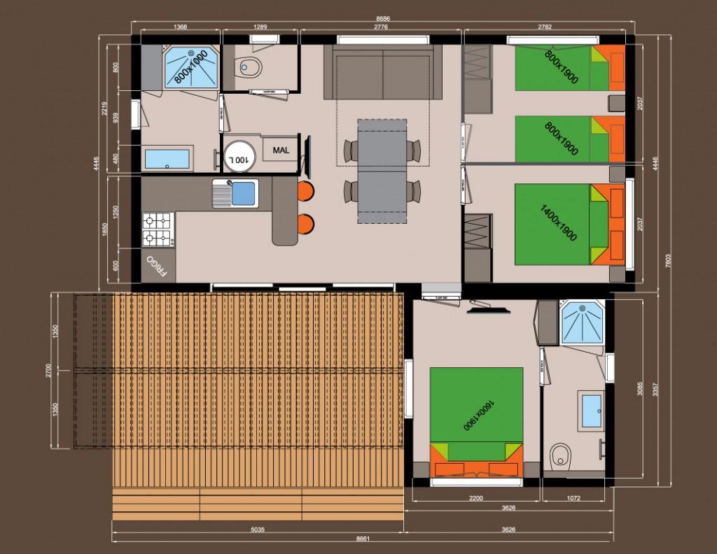 3 chambres + 2 salles de bains