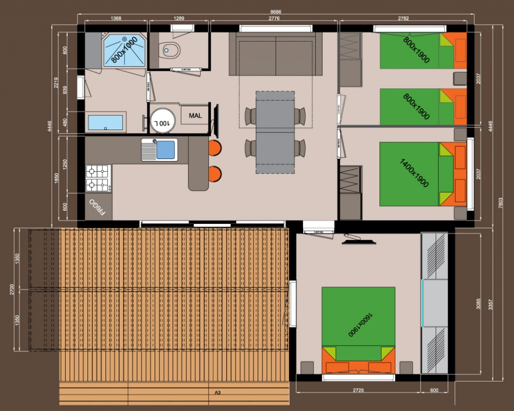 3 chambres + dressing