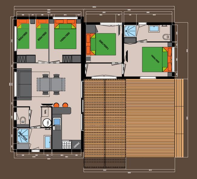 4 chambres + 2 salles de bains