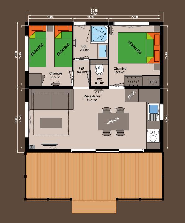 Plan chalet bois nexo 37 m logis de montaigu for Plan chalet bois