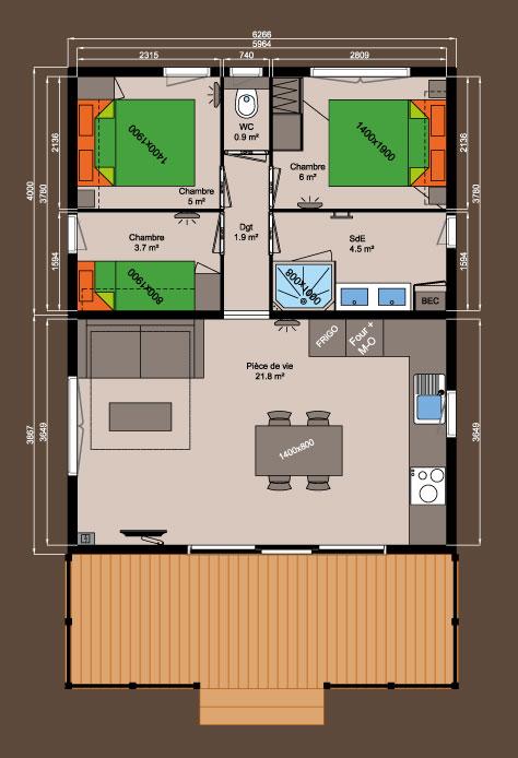 plan chalet bois NEXO 48 m²