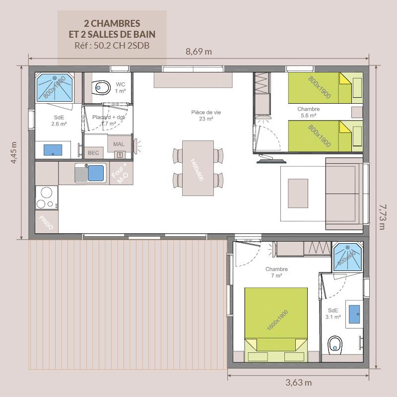 2 chambres / 2 salles de bains