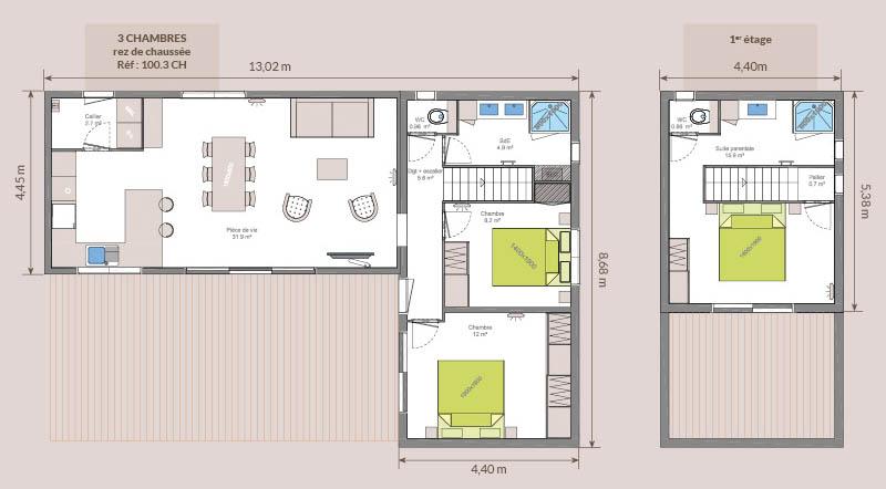 Plan chalet bois - Kubio 100 m² - 3 chambres + 2 salles de bain