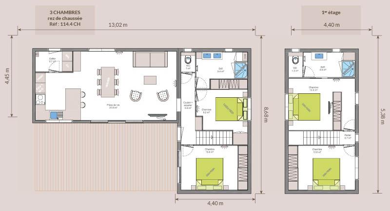 Plan chalet bois - Kubio 114 m² - 4 chambres et 2 salles de bain