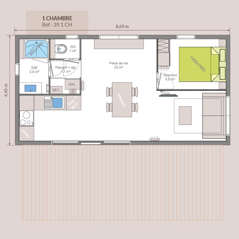 Chalet en bois Trigo 39 m² - 1 chambre
