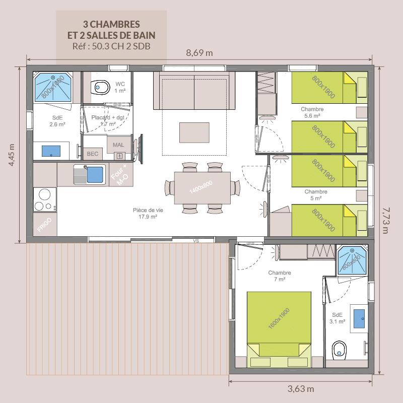 3 chambres / 2 salles de bains
