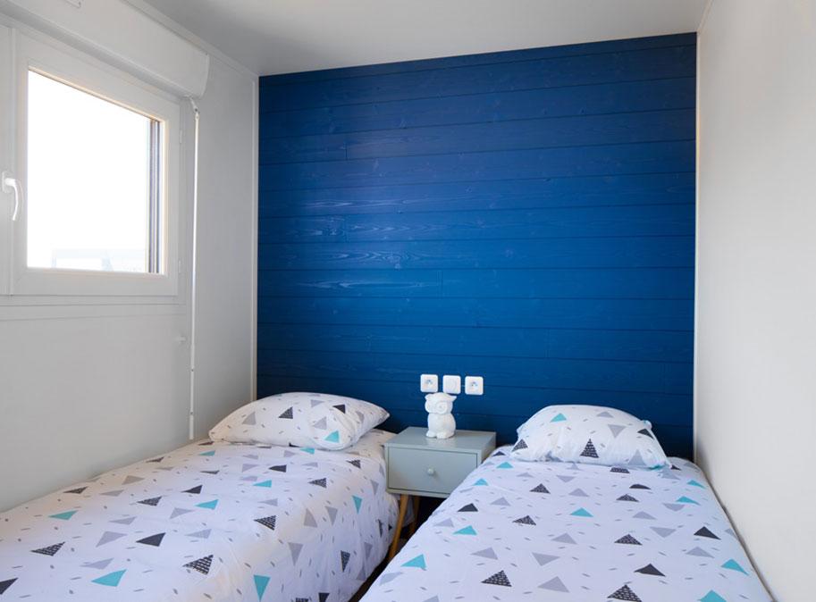 Chambre enfants - chalet en bois 50 m² habitable tout équipé