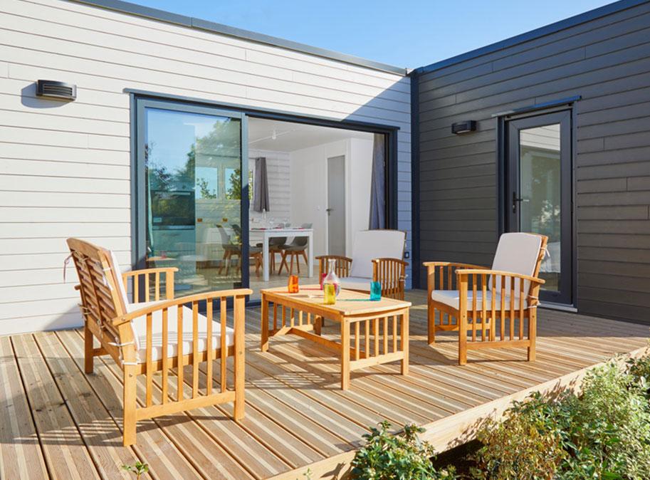 terrasse - chalet en bois 50 m² habitable tout équipé