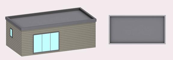 3D chalet en bois habitable livré monté 39m² toit plat